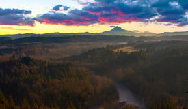 Mount Hood from Jonsrud viewpoint. Beautiful Image of Mt. Hood taken during sunrise from Jonsrud view point in Sandy, Oregon, USA royalty free stock photo