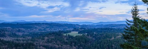 Mount Hood from Jonsrud viewpoint. Beautiful Panorama of Mt. Hood taken during sunrise from Jonsrud view point in Sandy, Oregon, USA stock images
