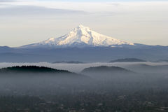 Mount Hood with Low Fog in the Valley. Mount Hood with Low Lying Fog Over Portland Oregon in the Valley stock photography