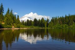 Mount Hood by Mirror Lake in Oregon state. Mount Hood reflection on Mirror Lake on a blue sky day in Oregon Royalty Free Stock Photo