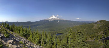 Mount Hood and Mirror Lake Panorama Stock Photos