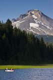 Mt Hood Oregon Fisherman Boat Trillium Lake Stock Photography