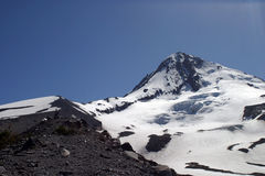 Mount Hood, Oregon. Clouds clear from the Cascade Mountain peak of Mount Hood, east of Portland, Oregon stock images
