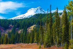 Mount Hood in Oregon. Snowy Peak of Mount Hood in the Cascade Volcanic Arc of Northern Oregon, United States. Oregon Landscape royalty free stock images