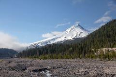 Mount Hood, Oregon with White River floodplain royalty free stock photo