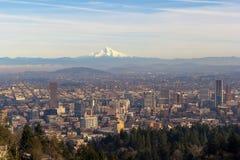 Mount Hood over City of Portland Oregon. Mount Hood view with City of Portland Oregon downtown cityscape daytime view royalty free stock photos