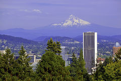 Mount Hood overlooking the city of Portland, Oregon stock photo