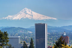 Mount Hood and Portland Stock Images