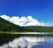 The Mount Hood reflection in Trillium Lake Stock Photos