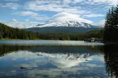 The Mount Hood reflection in Trillium Lake Stock Images