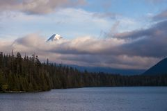 Mount Hood shrouded in low clouds at Lost Lake in Oregon royalty free stock photo