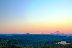 Mount Hood Sunset. Wide angle view of Mount Hood at sunset stock photo