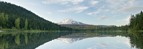 Mount Hood from Trillium Lake Panorama Royalty Free Stock Photos