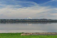 Mount hood and vancouver lake. Mount hood as it looks from vancouver lake vancouver washington royalty free stock image