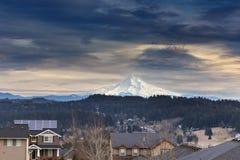 Mount Hood View in Luxury Neighborhood Stock Photo