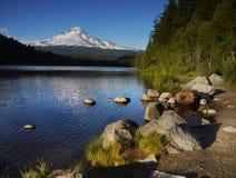Mount Hood Volcano, Trillium Lake Oregon USA. Beautiful Trillium Lake and Mt Hood - volcano, in Cascade Range, Oregon USA Stock Photos