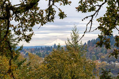 Mount Hood from Willamette Falls Overlook Royalty Free Stock Photos