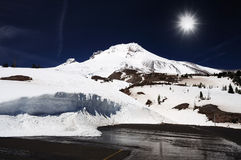 Mount hood at winter time Royalty Free Stock Photography