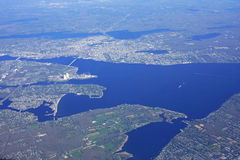 Mount Hope Bay. Looking down on Mount Hope Bay, USA Stock Photo