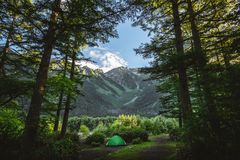 Mount Hotaka in Kamikochi national park summer season Royalty Free Stock Photos