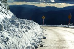 Mount Hotham Snow Road Royalty Free Stock Photography