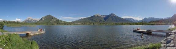 Mount Howard Douglas overlooks Upper Vermilion Lake stock photography