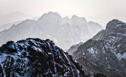 Mount Huangshan  in east China`s Anhui province is one of China`s ten best-known scenic spots. Huangshan, known as `the loveliest mountain of China`, was royalty free stock image