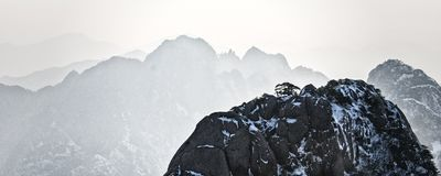 Mount Huangshan  in east China`s Anhui province is one of China`s ten best-known scenic spots. Huangshan, known as `the loveliest mountain of China`, was royalty free stock images