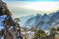 Mount Huangshan  in east China`s Anhui province is one of China`s ten best-known scenic spots. Huangshan, known as `the loveliest mountain of China`, was stock images