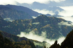 Mount Huangshan scene. Mount Huangshan cloud and fog are in winter Royalty Free Stock Images