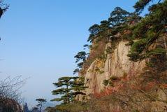 Mount Huangshan scenery. China Mount Huangshan strange shaped pines, stones Stock Photos