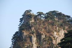 Mount Huangshan scenery. China Mount Huangshan strange shaped pines, stones Royalty Free Stock Photos