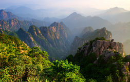 mount huangshan sunrise in July 2007 stock photo