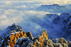 Mount Huangshan sunrise in winter Royalty Free Stock Photos