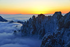 Mount Huangshan sunrise in winter Royalty Free Stock Image