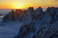 Mount Huangshan sunrise in winter Stock Image