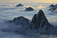 Mount Huangshan sunrise in winter. Anhui,China Royalty Free Stock Photography