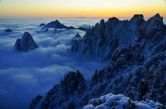 Mount Huangshan sunrise in winter Stock Images