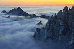 Mount Huangshan sunrise in winter. Anhui,China Royalty Free Stock Photos