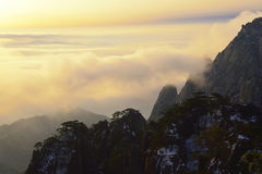 Mount Huangshan sunrise in winter Royalty Free Stock Photography