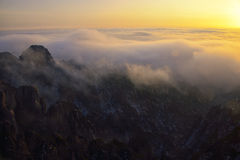 Mount Huangshan sunrise in winter. Anhui,China Royalty Free Stock Photo
