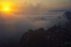 Mount Huangshan sunrise in winter. Anhui,China Royalty Free Stock Images