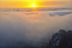 Mount Huangshan sunrise in winter. Anhui,China Stock Photos