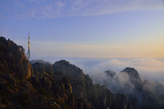 Mount Huangshan sunrise in winter Stock Photo
