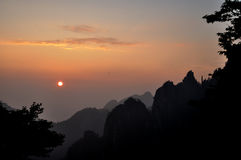 Mount Huangshan sunrise royalty free stock photography