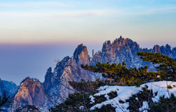 Mount huangshan. The mount huangshan sunset in anhui province in china Stock Photo