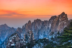 Mount huangshan. The mount huangshan sunset in anhui province in china Royalty Free Stock Photo