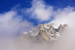 Mount Huber with low clouds, Yoho National Park, British Columbi Royalty Free Stock Photography