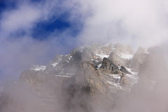 Mount Huber with low clouds, Yoho National Park, British Columbi Stock Image