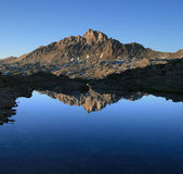 Mount Humphreys reflection. Reflection of Mount Humphreys in a small pool in the Sierra Nevada Mountains Stock Photo